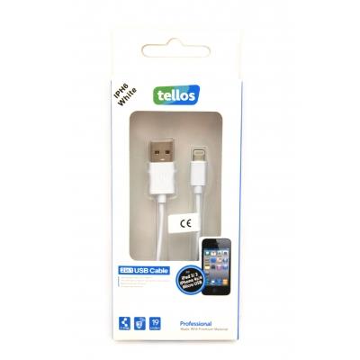 USB kabelis Tellos Professional Apple Lightning baltas, 1.0m