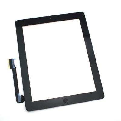 Lietimui jautrus stikliukas Apple iPad 3 juodas su home mygtuku ir laikikliais HQ