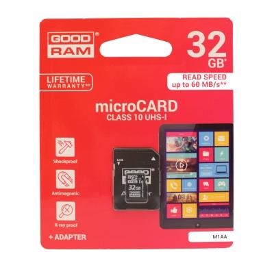 Atminties korta Goodram microSD 32Gb (class 10) + SD adapter