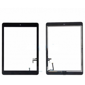 Lietimui jautrus stikliukas Apple iPad 5 Air juodas su home mygtuku ir laikikliais