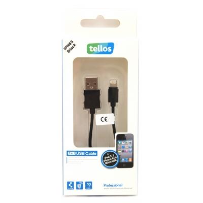 USB kabelis Tellos Professional Apple Lightning juodas, 1.0m