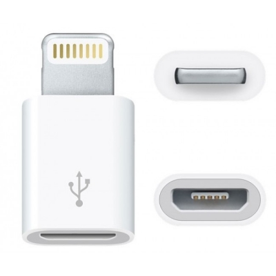 Adapteris iš microUSB į Apple Lightning baltas