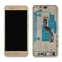 Ekranas Huawei P10 Lite su lietimui jautriu stikliuku su rėmeliu auksinis HQ