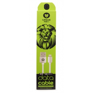 USB kabelis Leslie S110 Lightning FastCharging baltas, 1.0m