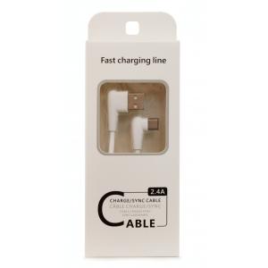 USB kabelis FastCharging Line microUSB baltas, 1.0m
