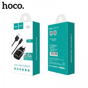 Įkroviklis buitinis Hoco C12 su dviem USB jungtimis + Type-C (2.4A) juodas