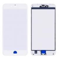 LCD stikliukas Apple iPhone 6S Plus su rėmeliu ir OCA baltas V2 ORG