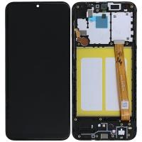 Ekranas Samsung A202 A20e su lietimui jautriu stikliuku juodas originalus (service pack)