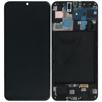 Ekranas Samsung A505 A50 su lietimui jautriu stikliuku juodas originalus (service pack)