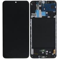 Ekranas Samsung A705 A70 su lietimui jautriu stikliuku juodas originalus (service pack)