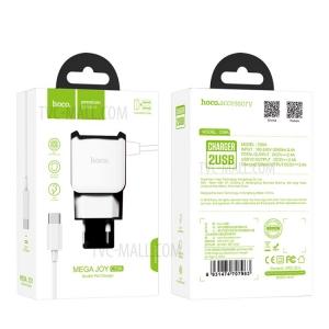 Įkroviklis buitinis Hoco C59A su 2 USB jungtimis + Type-C (2.1A) baltas