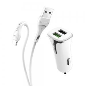 Įkroviklis automobilinis Hoco Z31 Quick Charge 3.0 (3.4A) su 2 USB jungtimis + Type-C baltas