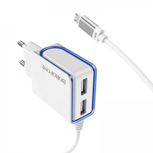 Įkroviklis buitinis Borofone BA35A su dviem USB jungtimis + microUSB (2.1A) baltas