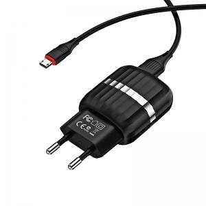 Įkroviklis buitinis Borofone BA25A su dviem USB jungtimis + microUSB (2.1A) juodas