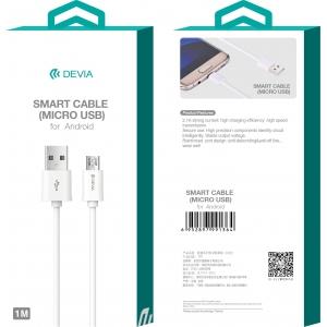 USB kabelis Devia Smart microUSB 2.0m baltas