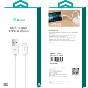 USB kabelis Devia Smart Type-C 2.0m baltas