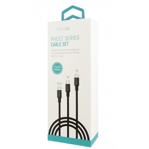 USB kabelis Devia Pheez 3 Pack microUSB 0.25m,1.0m,2.0m juodas