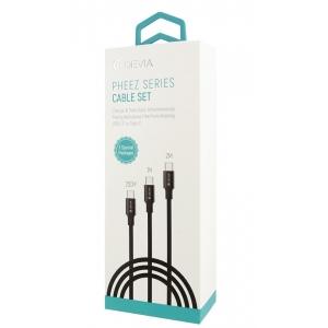 USB kabelis Devia Pheez 3 Pack Lightning 0.25m,1.0m,2.0m pilkas
