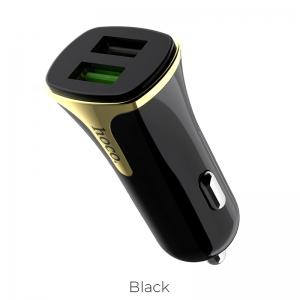 Įkroviklis automobilinis Hoco Z31 Quick Charge 3.0 (3.4A) su 2 USB jungtimis juodas