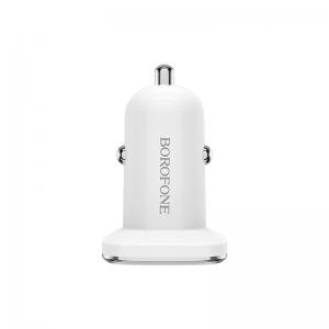 Įkroviklis automobilinis Borofone BZ12 su 2 USB jungtimis (2.4A) baltas