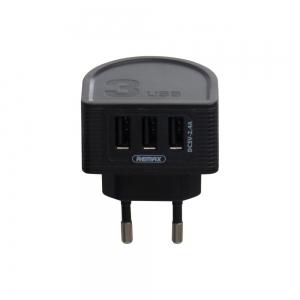 Įkroviklis buitinis Remax RP-U32 su trimis USB jungtimis 2.4A juodas