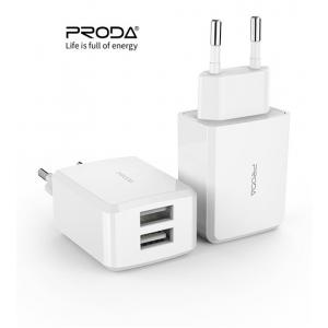Įkroviklis buitinis Proda PD-A22 su dviem USB jungtimis + Type-C 2.1A baltas