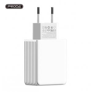Įkroviklis buitinis Proda PD-A14 Qualcomm Quick Charge 3.0 su USB jungtimi 3.1A baltas