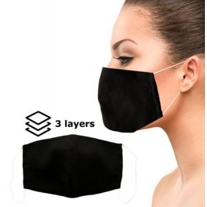 Daugkartinė apsauginė 3 sluoksnių veido kaukė juoda M
