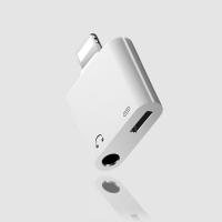 Adapteris ADP15 iš Lightning į Lightning + 3,5mm baltas
