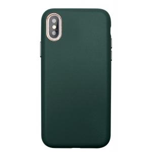 Dėklas Leather Case Apple iPhone 12 Pro Max tamsiai žalias