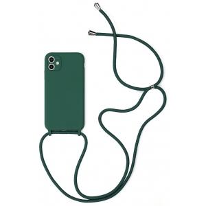 Dėklas Strap Silicone Case Apple iPhone 12 mini tamsiai žalias