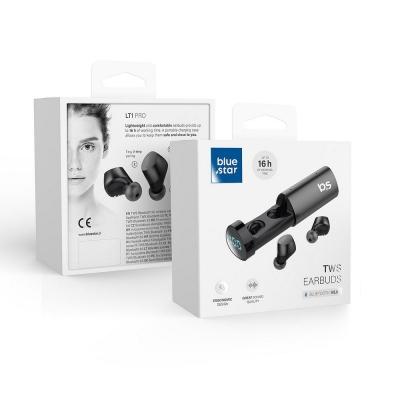 Belaidė laisvų rankų įranga Blue Star TWS LT1 Pro su Power bank juoda