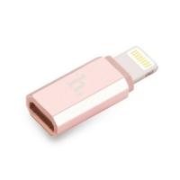 Adapteris Hoco iš microUSB į Apple Lightning rožinis