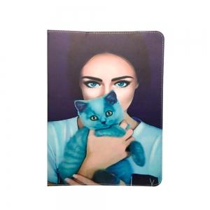 Dėklas universalus planšetiniam kompiuteriui Lady with cat 9-10