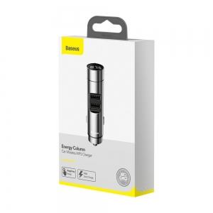 Transmiteris Baseus Energy Column Bluetooth MP3 grotuvas / FM bangų moduliatorius (laisvų rankų įranga,LCD,2xUSB Quick Charge 3.1A įkroviklis) sidabrinis CCNLZ-0S