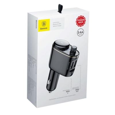 Transmiteris Baseus Locomotive Bluetooth MP3 grotuvas / FM bangų moduliatorius (laisvų rankų įranga,microSD,LCD,2xUSB Quick Charge 3.4A įkroviklis) CCALL-RH01