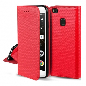 Dėklas Smart Magnet Xiaomi Redmi Note 9T 5G raudonas