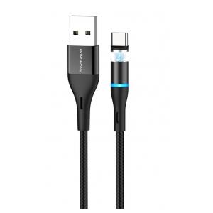 USB kabelis Borofone BU16 Skill Magnetic Type-C 1.0m juodas