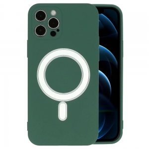 Dėklas MagSilicone Apple iPhone 12 tamsiai žalias