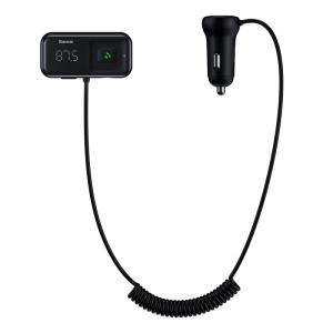 Transmiteris Baseus T-Typed S-16 Bluetooth MP3 grotuvas / FM bangų moduliatorius (laisvų rankų įranga,microSD,LCD,2xUSB Quick Charge 2.1A įkroviklis) juodas CCTM-D01