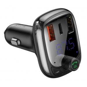 Transmiteris Baseus T-Typed S-13 Bluetooth MP3 grotuvas / FM bangų moduliatorius (laisvų rankų įranga,microSD,LCD,2xUSB Quick Charge įkroviklis) juodas CCTM-B01