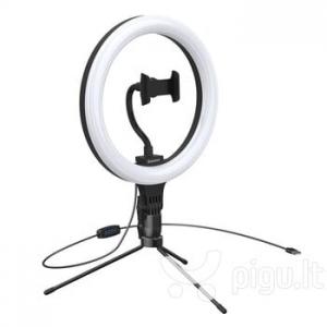 Asmenukių trikojis su LED lempa Baseus Live Stream 10 colių šviesos žiedas juodas CRZB10-A01