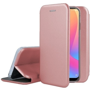 Dėklas Book Elegance Huawei P30 Lite rožinis-auksinis