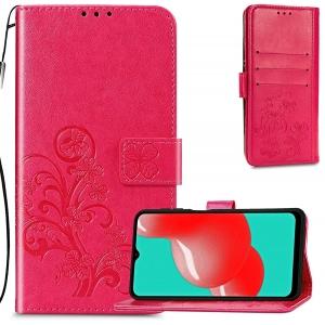 Dėklas Flower Book Samsung A225 A22 4G rožinis-raudonas