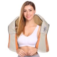 Kaklo ir pečių Shiatsu masažuoklis su šildymo funkcija F718 pilkas-oranžinis