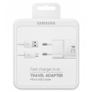 Įkroviklis originalus Samsung EP-TA20EWE 15W + kabelis microUSB 1.5m pakuotėje baltas