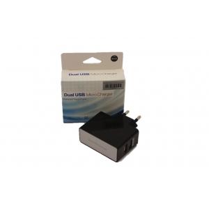Įkroviklis buitinis su USB jungtimi (dual) (1A+2A) juodas