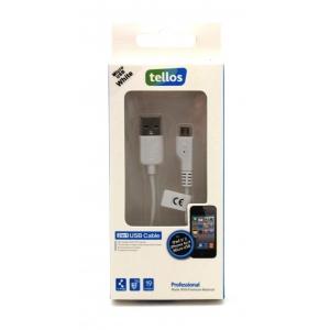 USB kabelis Tellos Professional microUSB FastCharging baltas, 0.8m