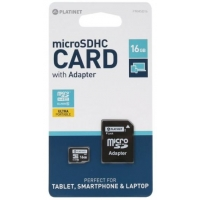 Atminties korta Platinet MicroSD 16GB (class10) + SD Adapteris