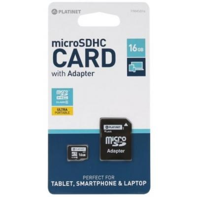 Atminties korta Platinet MicroSD 16GB (class10) + SD Adapteris